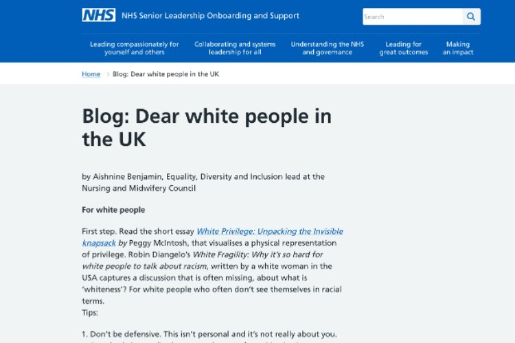 """Britain's National Health Service Lectures White People on Their """"Racism"""""""